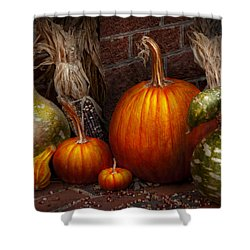 Autumn - Gourd - Family Get Together Shower Curtain by Mike Savad