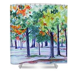 Autumn In The Park Shower Curtain by Jan Bennicoff