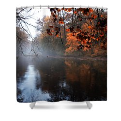 Autumn Morning By Wissahickon Creek Shower Curtain by Bill Cannon