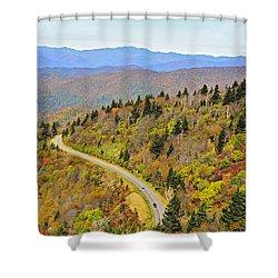 Autumn Travel Shower Curtain by Susan Leggett