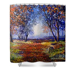 Autumn Wheelbarrow Shower Curtain by Lou Ann Bagnall
