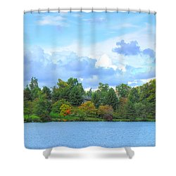 Shower Curtain featuring the photograph Autumn's Beauty At Hoyt Lake by Michael Frank Jr