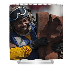 Aviation Boatswains Mate  Carrying Shower Curtain by Stocktrek Images