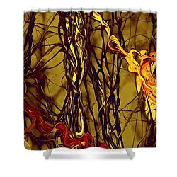 Shapes Of Fire Shower Curtain by Leo Symon