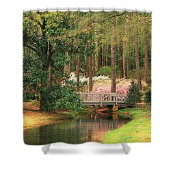 Azaleas And Footbridge Shower Curtain by Michael Hubrich and Photo Researchers