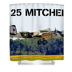 B 25 Mitchell Bomber Shower Curtain by David Lee Thompson