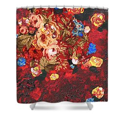Shower Curtain featuring the painting Baba's Garden Lg by Alys Caviness-Gober