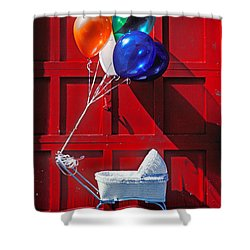Baby Buggy With Balloons  Shower Curtain by Garry Gay
