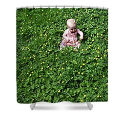 Baby In A Field Of Flowers Shower Curtain