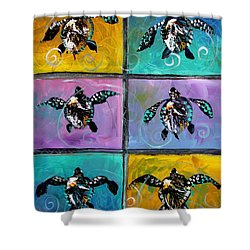Baby Sea Turtles Six Shower Curtain by J Vincent Scarpace