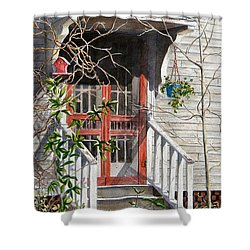 Back Door Friends  Sold Shower Curtain