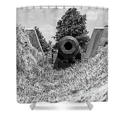 Back Off Shower Curtain by Guy Whiteley