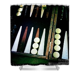 Shower Curtain featuring the photograph Backgammon Anyone by Nina Prommer