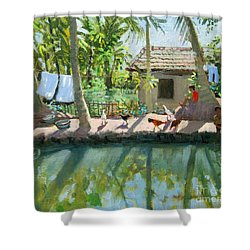 Backwaters India  Shower Curtain by Andrew Macara