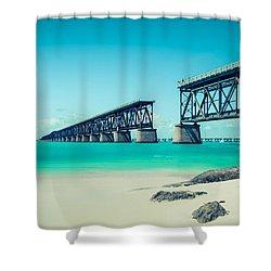 Bahia Hondas Railroad Bridge  Shower Curtain by Hannes Cmarits