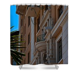 Shower Curtain featuring the photograph Balcony At The Biltmore Hotel by Ed Gleichman