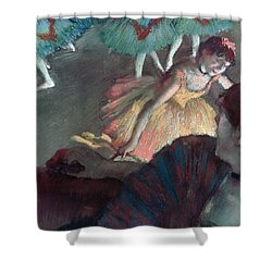 Ballerina And Lady With A Fan Shower Curtain by Edgar Degas