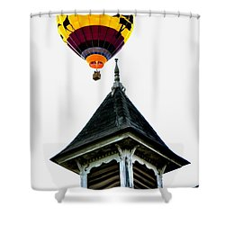 Shower Curtain featuring the photograph Balloon By The Steeple by Rick Frost