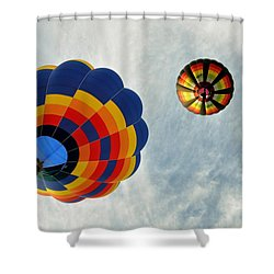 Shower Curtain featuring the photograph Balloons On The Rise by Rick Frost