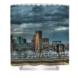 Shower Curtain featuring the photograph Baltimore Inner Harbor Pano by Mark Dodd