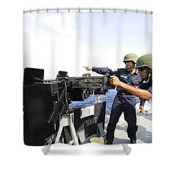 Bangladesh Navy Sailors Fire Shower Curtain by Stocktrek Images