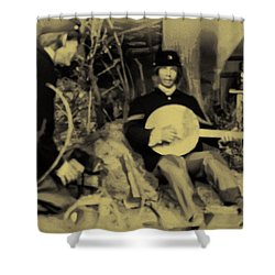 Banjo Playing Union Soldier Shower Curtain by Bill Cannon