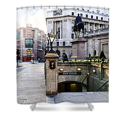Bank Station Entrance In London Shower Curtain by Elena Elisseeva