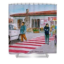 Bar Ristorante Mt. Etna Sicily Shower Curtain by Frank Hunter