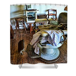 Barber Chair With Child Booster Seat Shower Curtain by Paul Ward