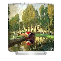 Barge On A River Normandy Shower Curtain by Rupert Charles Wolston Bunny