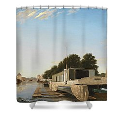 Barges At A Mooring Shower Curtain by Unknown
