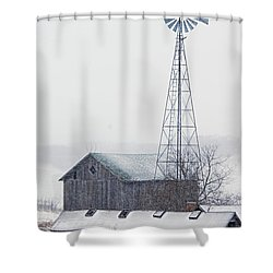 Barn And Windmill In Snow Shower Curtain by Larry Ricker