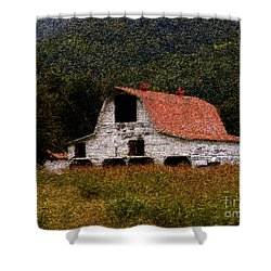 Shower Curtain featuring the photograph Barn In Mountains by Lydia Holly
