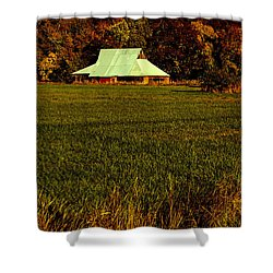 Barn In The Style Of The 60s Shower Curtain by Mick Anderson