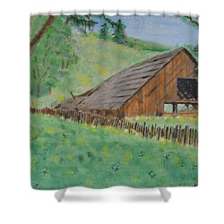 Barn On Hiway 20 Shower Curtain by Mick Anderson