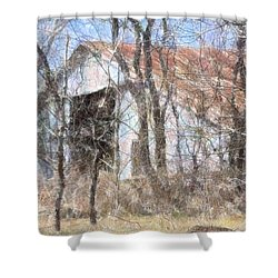Barn Through Trees Shower Curtain by Donna G Smith
