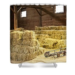 Barn With Hay Bales Shower Curtain by Elena Elisseeva