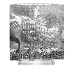Barnums Museum Fire, 1865 Shower Curtain by Granger