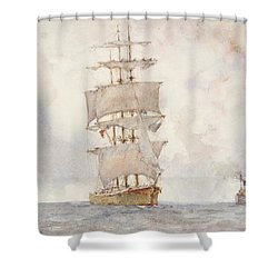 Barque And Tug Shower Curtain by Henry Scott Tuke