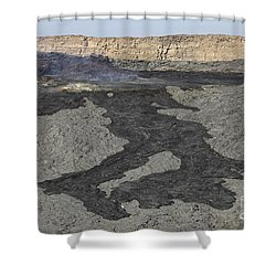 Basaltic Lava Flow From Pit Crater Shower Curtain by Richard Roscoe
