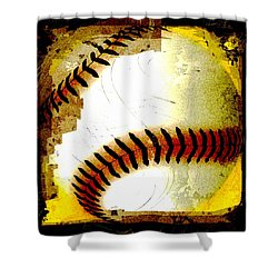 Baseball Abstract Shower Curtain by David G Paul