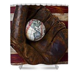 Baseball Mitt With Earth Baseball Shower Curtain by Garry Gay