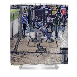 Baseball Pitcher Warming Up Digital Art Shower Curtain by Thomas Woolworth