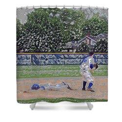 Baseball Playing Hard Digital Art Shower Curtain by Thomas Woolworth