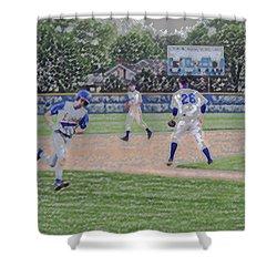 Baseball Runner Heading Home Digital Art Shower Curtain by Thomas Woolworth