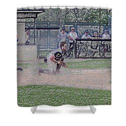Baseball Runner Safe At Home Digital Art Shower Curtain by Thomas Woolworth