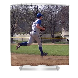 Baseball Step And Throw From Third Base Shower Curtain by Thomas Woolworth