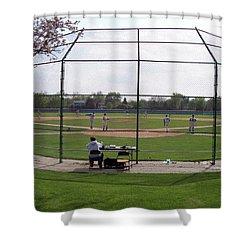 Baseball Warm Ups Shower Curtain by Thomas Woolworth