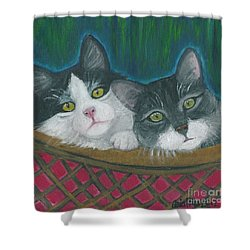 Basket Of Kitties Shower Curtain by Ania M Milo