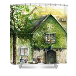 Shower Curtain featuring the painting Bass Fiddle At Ford Gala II by Bernadette Krupa